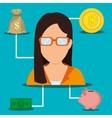 Bank global economy and money savings vector image