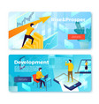 banners man holding arrow rising profit vector image