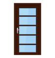 brown door interior design with glass elements vector image