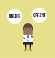 businessman with online or offline option vector image vector image