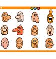 cartoon people emoticons heads set vector image vector image