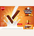 chocolate coated wafer ads pouring milk vector image vector image