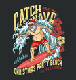 christmas beach party vintage logotype vector image