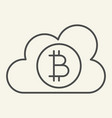 cloud with bitcoin thin line icon crypto coin on vector image vector image