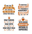 coffee saying quote set vector image vector image