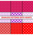 collection seamless geometric patterns with hearts vector image