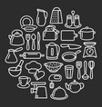 cooking set kitchenware line icons in circle vector image