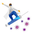 coronavirus concept - doctor jumping on a syringe vector image vector image