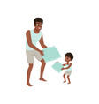 dad and son playing pillow loving dad and kid vector image vector image