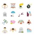 Economic Crisis Flat Icons vector image