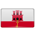Flags Gibraltar in the form of a magnet on vector image vector image
