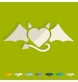 Flat design heart devil vector image