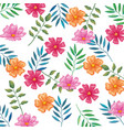 flowers and leafs garden pattern background vector image