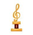 gold treble clef music award statuette cartoon vector image vector image