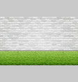 grass lawn and white brick wall vector image vector image