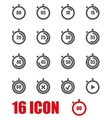 grey stopwatch icon set vector image vector image