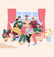 group portrait friends meeting at home vector image vector image