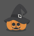 halloween pumpkin wearing witch hat vector image