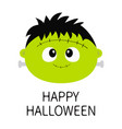 happy halloween frankenstein zombie monster round vector image