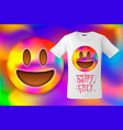 happy holi colorful smiley emoticon emoji face vector image vector image