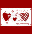 happy valentines day banner with red and white vector image vector image