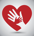 Helping Hands On Red Heart vector image vector image