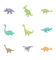 herbivorous dinosaurs icons set cartoon style vector image vector image