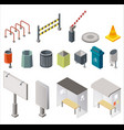 Isometric design arranged set with urban trash