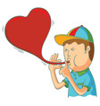kid blowing love balloon vector image