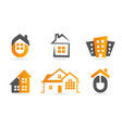 logo house building set real estate icon vector image