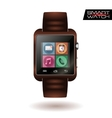 Modern shiny smart watch with leather bracelet app vector image vector image