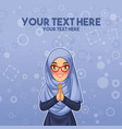 muslim woman greeting with welcoming hands vector image vector image