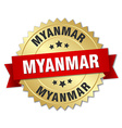 Myanmar round golden badge with red ribbon vector image vector image