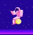 pixel art astronaut spaceman 8 bit objects space vector image