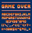 pixel retro font video computer game design 8 bit vector image vector image