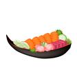 Salmon Sashimi and Tuna Sasimi on Wooden Boat vector image vector image