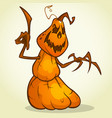 scarecrow pumpkin head cartoon vector image vector image