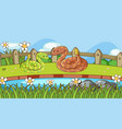 scene with two rattle snakes in garden vector image vector image
