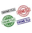 scratched textured swine flu stamp seals vector image
