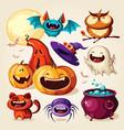 set halloween cartoon elements vector image