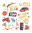set icons adrenaline recreation summer extreme vector image