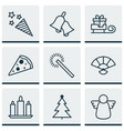 set of 9 celebration icons includes sliced pizza vector image vector image