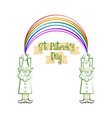 sketch of a irish elves witn a rainbow vector image