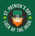 St Patricks Day card design Vintage holiday badge vector image