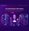 start up launch in smart city isometric web banner vector image vector image