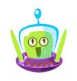 surprised green alien cute cartoon monster vector image vector image