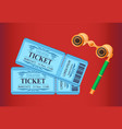 theater tickets with date and seats binoculars vector image