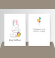 two banners with funny cute bunny hand drawn vector image vector image