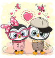 two penguins on a hearts background vector image vector image