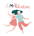 valentines happy man and woman couple card vector image vector image